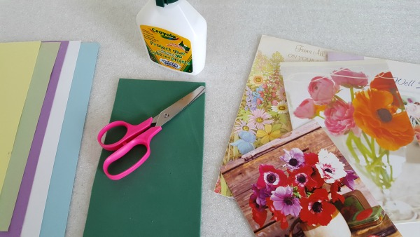 Flower Garden Kids Art Activity With Recycled Greeting Cards