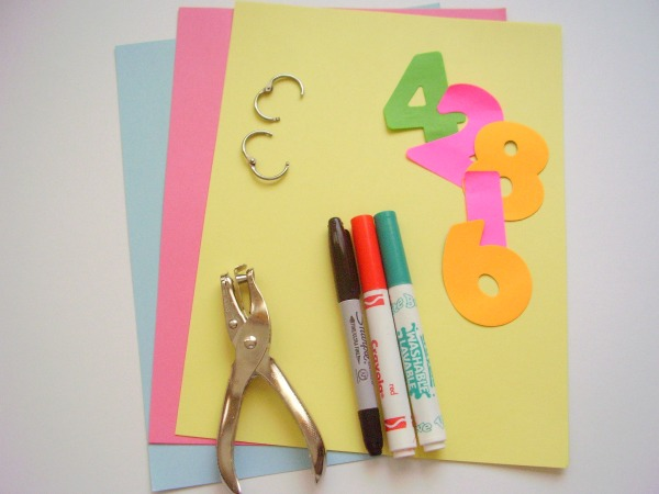 Supplies for homemade counting book