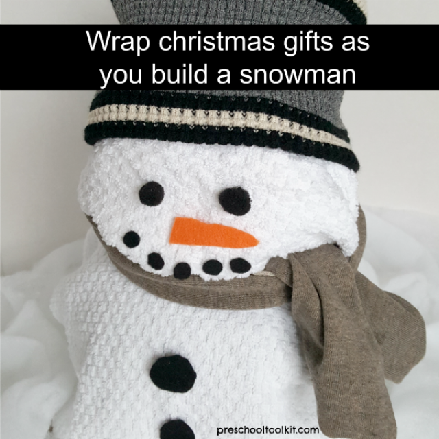 This snowman activity is a fun and unique way to wrap presents for a 'greener' Christmas - Preschool Toolkit