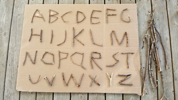 Twig letters of the alphabet nature craft for kids