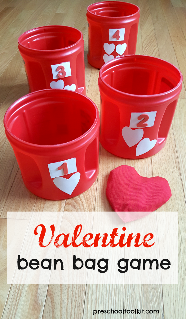 Valentine bean bag game for kids