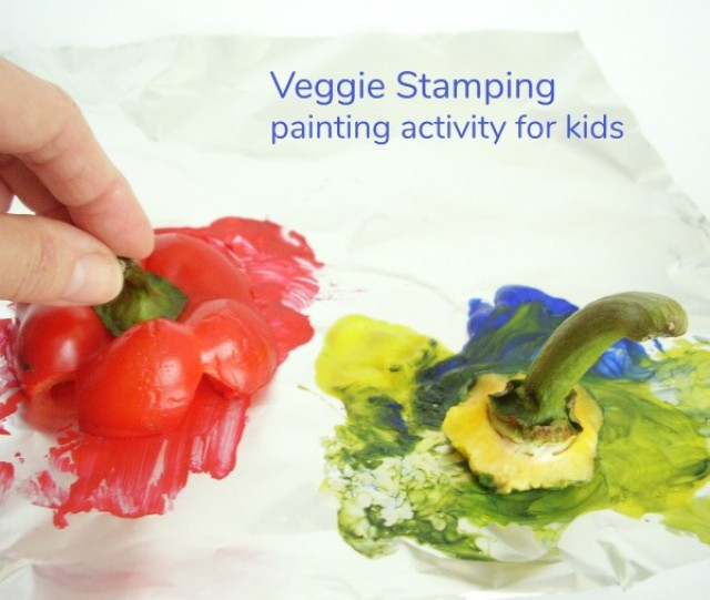 Veggie stamping painting activity for kids - Preschool Toolkit