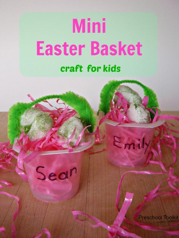 Easter basket recycle craft for preschoolers
