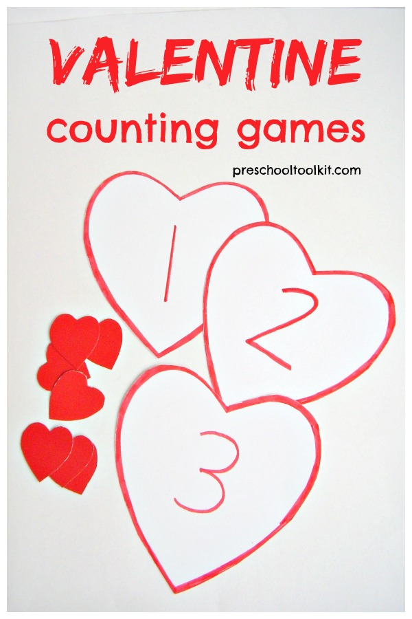 Valentine counting games for kids