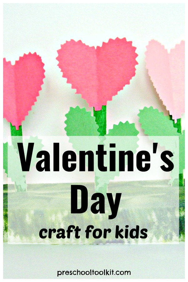Valentines day paper flowers craft for kids