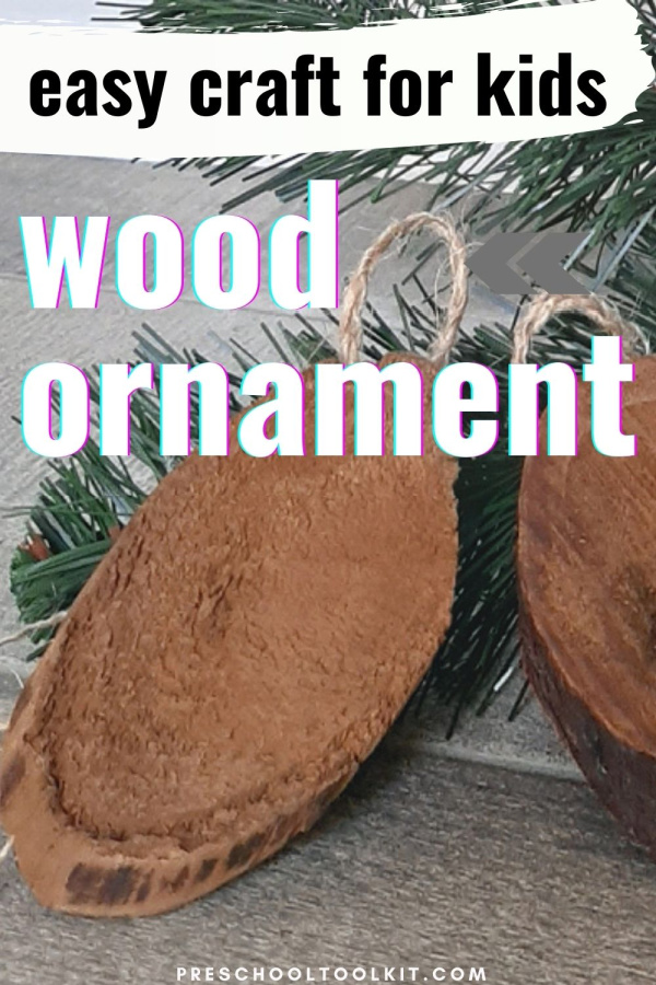 Kids can make a Christmas tree ornament with scraps of wood