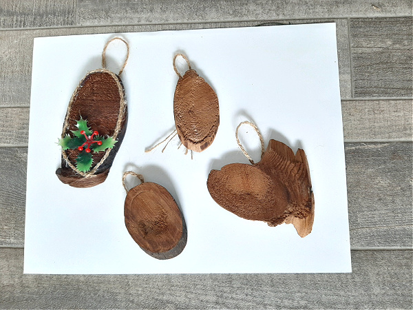 Natural ornaments kids can make with wood pieces