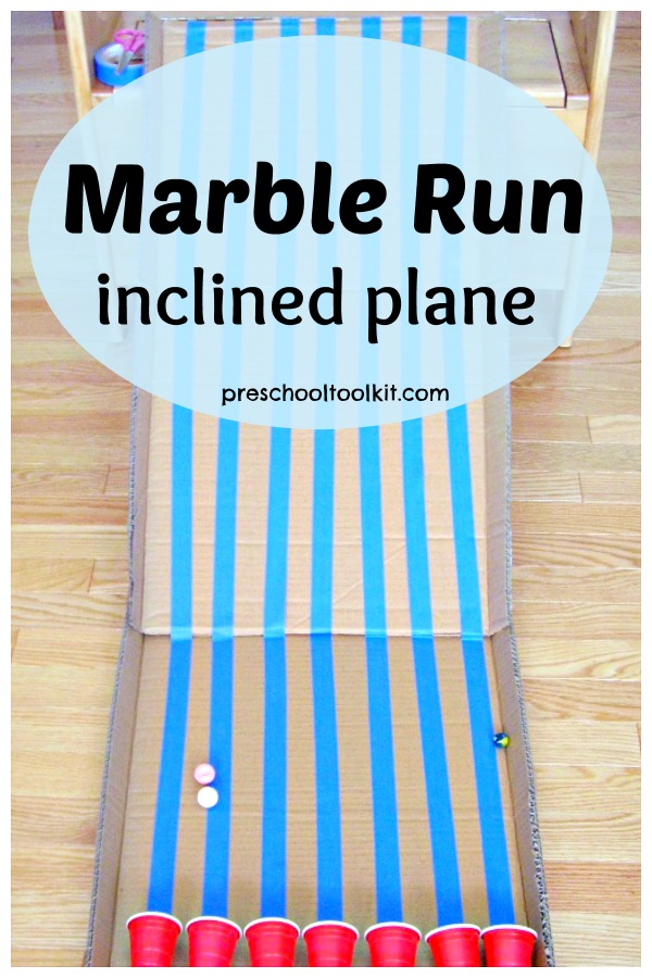 Marble run inclined plane preschool activity
