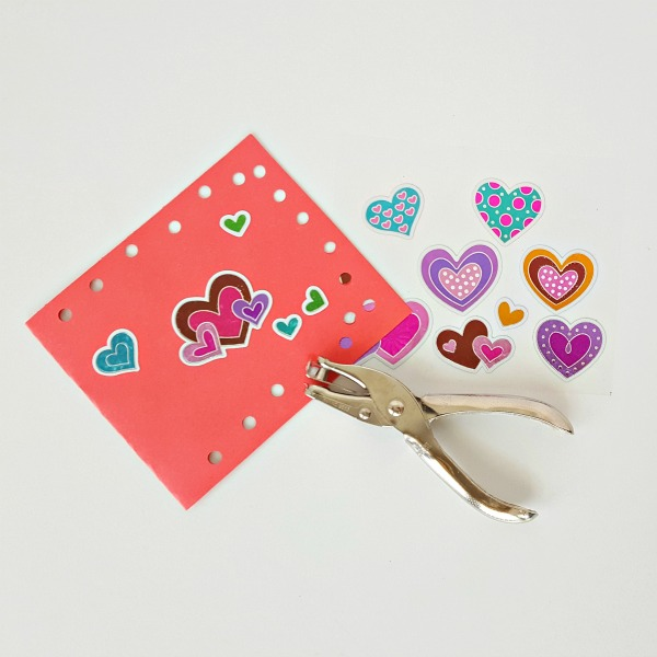 Fine motor process art activity making Valentine cards